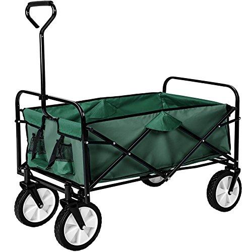TecTake Chariot de transport à main Remorque de jardin pliable   98 x 55 x 122 (LxBxH)   -diverses couleurs au choix- (Vert   no. 402596)