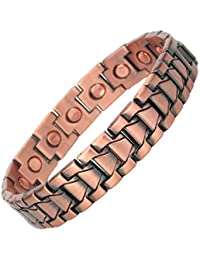 MPS® Mens Copper Magnetic Therapy Bracelet with clasp and 3,000 gauss Neodymium Magnets