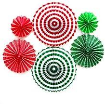 Naisicatar Papier Fan Blume hängende Banner für Babyparty-Partei-Dekorationen 6pcs / Set Rot-Rosa-Grün Weihnachten