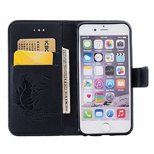iPhone 6 Hülle, iPhone 6S Ledertasche - Felfy Flip Style Luxe Bookstyle Tasche Case Kasten 3D Reliefdruck Stilvolle Kreismuster Muster Design Muster Premium Tasche Geldbeutel Folio PU Leder Mappen Mag Feder Schwarz Case