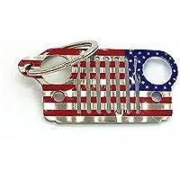 Acciaio inossidabile 3d Font Jeep Griglia Bandiera Americana portachiavi catena chiave anello, American