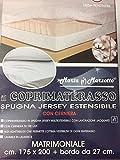 coprimaterasso matrimoniale MARTA MARZOTTO con cerniera spugna jersey estensibile 175x200 + bordo da 27 cm