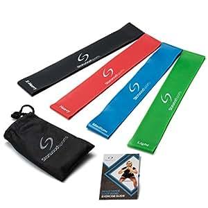 Set aus 4 Fitnessbändern – Gymnastikbänder/Loops für Yoga, Pilates, Reha-Sport Physio-Gymnastik – Für Männer & Frauen – Hergestellt aus natürlichem Latex – Lebenslange Garantie
