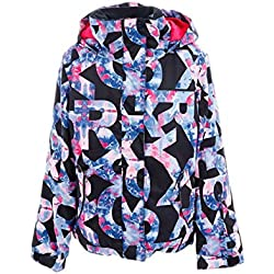 Roxy Jetty-Chaqueta para Nieve para Chicas, Niñas, True Black Famous Alphabet, 14/XL