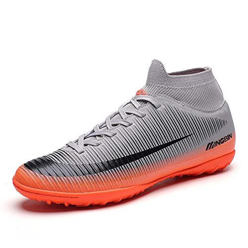 Scarpe da Ginnastica Uomo,Gli uomini di scarpe da calcio Boys Soft caviglia scarpe ramponi Sport per la formazione dei picchi di lunga uomini Sneakers Indoor Turf Futsal grigio scarpe da calcio uomi