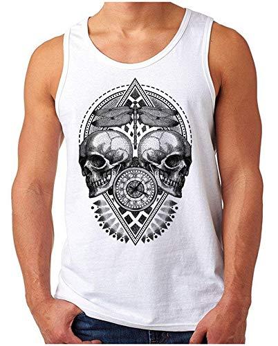 OM3® - Time-Flies - Tank Top   Herren   Hipster Style Skull Clock Totenkopf Graphics Printshirt   Weiß, M
