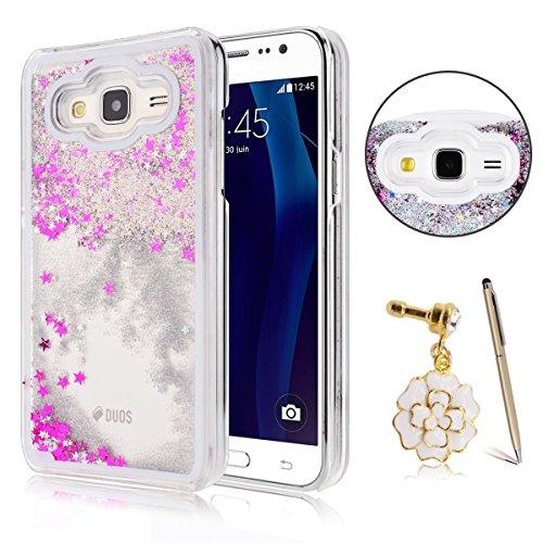 Samsung Galaxy J3 Custodia, Samsung Galaxy J3 PC Back Cover in Plastica Trasparente 3D Glitter Scintillanti Stelle Quick and Mode Liquido Rigido Bling Della Stella Caso Transparent Sottile Anti Scivol bianca