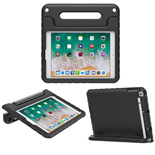 MoKo iPad 9.7 2018/2017 Hülle - Eva Stoßfest Kinderfreundlich Schutzhülle mit Handgriff, Standfunktion Apple Pencil Halter für Apple iPad 9.7' 2018/2017/iPad Air/iPad Air 2, Schwarz