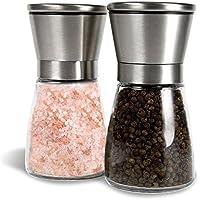 Set de deux moulins à sel et poivre en acier brossé et verre, Salière et poivrière - Moulin à épices avec mouture réglable, facile à remplir et grande contenance - SUPPORT INCLUS