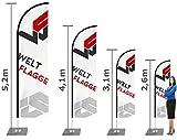 Beachflag Werbefahne Individuell mit Mast inkl Druck - 2,6m - 5,2m Haiflosseform (5,2m)