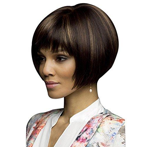 Lady perruque peut être chaude teints bobo tête perruque Qi Liu profonde cheveux courts bruns