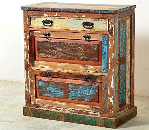 Schuhschrank Delhi 85x90x40 cm Altholz massiv bunt Schuhkipper Wandschuhschrank Flur Garderobe Diele Used Look