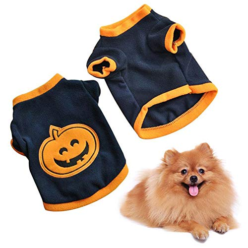 Easy Kid Kostüm Cute - Cossll498 Cute Pet Dog Halloween Pumpkin T-Shirt Warm Costume Breathable Clothes Apparel - Black+Orange S