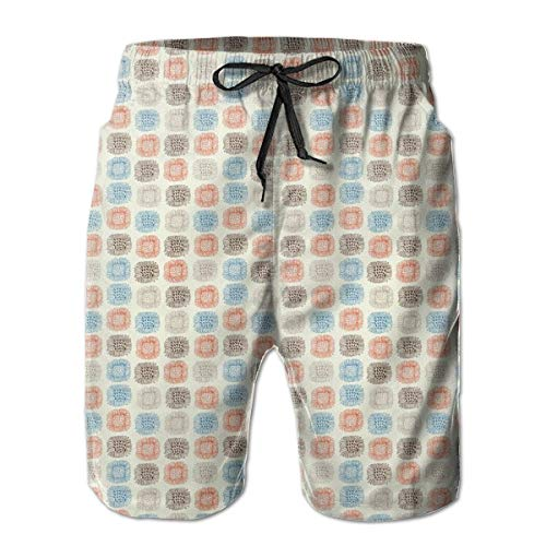 Icndpshorts Men Swim Trunks Beach Shorts,Abstract Hand Drawn Sunflower Doodles Squares with Dots Pattern Spring Blooms M -