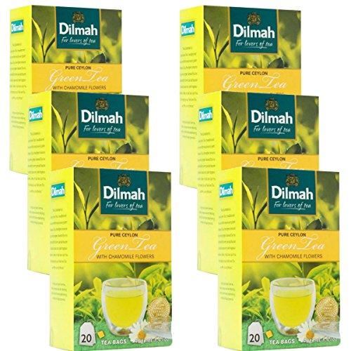 Dilmah reiner grüner Tee mit Ceylon-Kamillengeschmack - 20 Teebeutel X 6 Pack - feinster grüner Tee aus Sri Lanka mit Kamillenblüten (Frühlings-rollen)