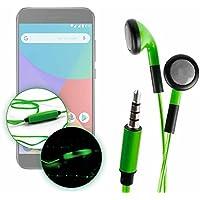 DURAGADGET Auriculares In-Ear Con Luz LED Verde Para Smartphone Xiaomi Mi A1 - ¡