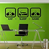 Eat Sleep Jeu Gaming Sticker mural Geek gigaflops Joystick Jeu Sticker mural en vinyle Stickers muraux Decor Gamer PS4Xbox tr212