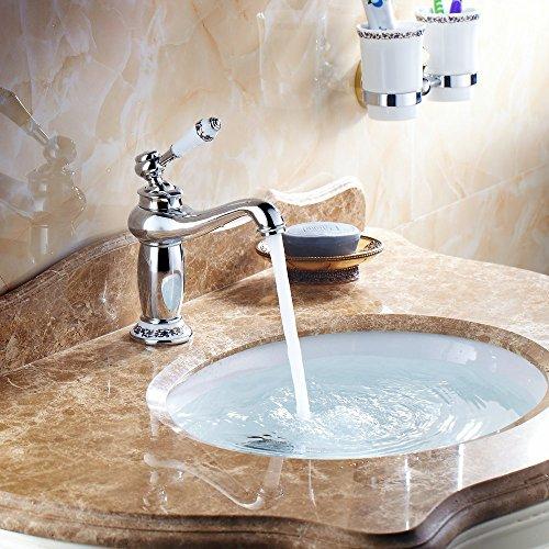 Hiendure Ottone ponte montato alta arco lavabo rubinetto del lavandino bagno cucina ceramica bianca gestire cromato