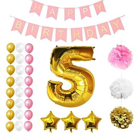 Ballons Happy Birthday 5ème Anniversaire, Fournitures & Décorations par Belle Vous - Set tout-en-un - Gros Ballon Aluminium 5 Ans - Ballon de Décoration en Latex Or, Blanc et Rose - Décors Adaptés pour Tous les Enfants