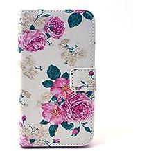 Samsung Galaxy Core Prime/SM-G361 Funa de Cuero,PU Leather Wallet Funda Carcasa flip cover para Samsung Galaxy Core Prime SM-G361F Funda Carcasa con Función Soporte-Flor rosa