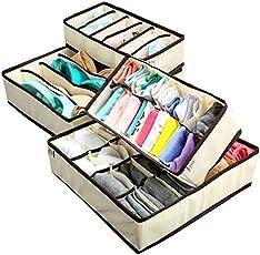 Egab Set of 4 Foldable Storage Box Type Non-Smell Drawer Organizer Closet Storage for Socks Bra Tie Scarfs