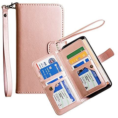 CellularOutfitter Samsung Galaxy S8 Plus Multi-Card Wallet Case - Limited Edition Leather Case with Wristlet - Rose Gold