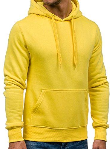 BOLF Herren Sweatshirt Pullover mit Kapuze mit Kordel Top AK72 Gelb 2009