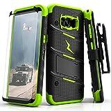 Zizo Bolt Cover Etui avec Film de Protection d'écran en Verre trempé pour Samsung Galaxy S8 Noir/Vert Fluo