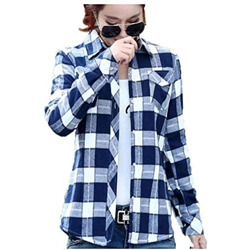 AXPD SHIRT Herbst Und Winter Damen Und Damen Casual Baumwolle Revers Langarm Plaid Shirt Damen Slim Jacke Bluse Shirt XL -