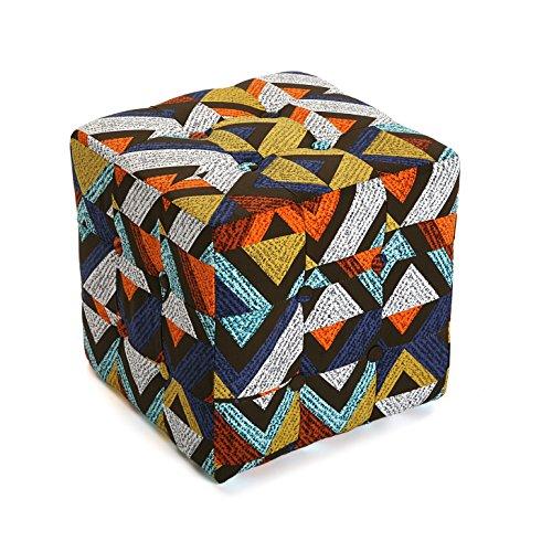 Versa 19501334 Taburete cubo puff asiento Dover,35x35x35, Multicolor,