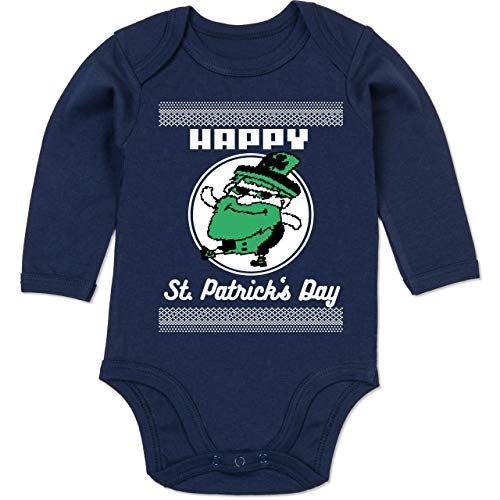 Anlässe Baby - Happy St. Patrick's Day Pixel - 3-6 Monate - Navy Blau - BZ30 - Baby Body Langarm