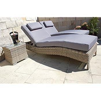 TecTake 800315 Polyrattan Sonnenliege Gartenliege Rattan Garten Liege Gartenm/öbel mit Kissen Grau   Nr. 402055 Diverse Farben