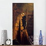 Bilderwelten Leinwandbild - Carl Spitzweg - Der Bücherwurm - Hoch 2:1 Leinwand Leinwandbild XXL Leinwanddruck Wandbild, Größe HxB: 80cm x 40cm x 2cm