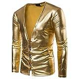 Herren V-Ausschnitt Lange Ärmel Freizeit und Mode Nacht Shirt(M,Gold)