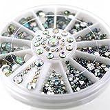Joyeee 3D Pedrería para Uñas Decoración de Arte de Uñas Rueda de Diamantes Brillantes(12 piezas)