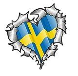 Herzförmiger ZERRISSENES METALL Schweden Schwedische Flagge Für Fussball Team Fan Passt Vinyl Auto Aufkleber 105x100mm