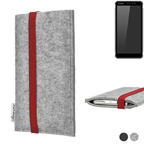 flat.design Handy Hülle Coimbra für Ruggear RG850 individualisierbare Handytasche Filz Tasche rot grau