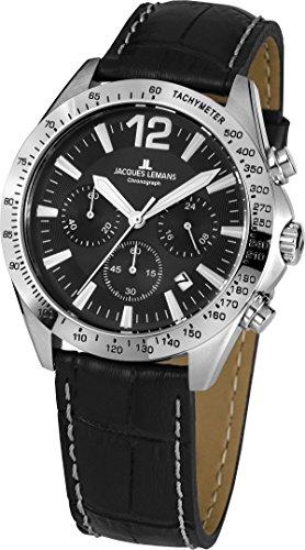 Jacques Lemans Herren Analog Quarz Uhr mit Leder Armband 42-5A
