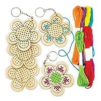 Baker Ross Ltd AR265 Flower Wooden Cross Stitch Keyrings, Assorted