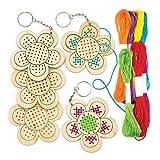 Kits de llaveros de madera para punto de cruz en forma de flor, perfectos para manualidades y decoraciones infantiles (pack de 5)