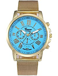 Womens Geneva Quartz Watches,Sisit Analog Clearance Lady Classic Stainless Steel Wrist Watch Female watches on Sale Watches for Women,Round Dial Case Comfortable Wristwatch (Sky blue)