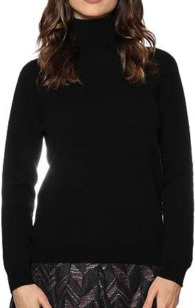 Cashmere Island- Maglione Donna 100% Cashmere Naturale- Made in Italy- Lavorato da Mani Esperte, Senza Cuciture- Comodo, Caldo ed Avvolgente- con Collo a Coste.