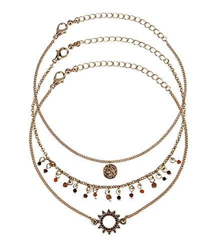 SIX 3er Set Damen Armschmuck, Armkettchen, Armbänder, Gliederkette, Münze, Perlen, Kreis, Hippie Kostüm, Karneval, Fasching, Gold ()