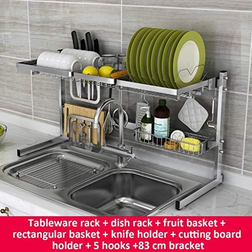 Tellerregal 304 Edelstahl Folding Drain Rack Doppeltes Waschbecken Frei Kombination Küche Lagerung 83 Cm Halterung (Farbe : A)