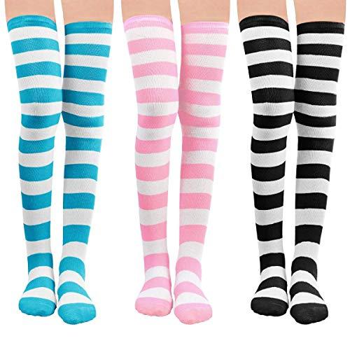 Damen Kniestrümpfe - Overknee Strümpfe Streifen Lange Socken Retro Knitting Strümpfe Mädchen Cheerleader Sportsocken Baumwollstrümpfe(Blau-Rosa-Schwarz) -