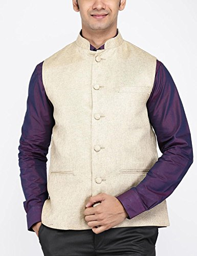 VISHAL Men Khaki Woven Nehru Jacket  available at amazon for Rs.499