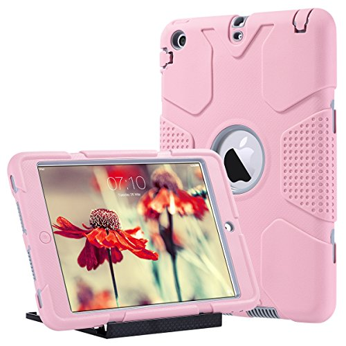 Ipad Shockproof Cover Mini (iPad Mini Hülle, iPad Mini 2/3 hülle - ULAK 3in1 Hybrid Case Cover Hochleistungs Shockproof Kickstand Abdeckung Fall für iPad Mini / iPad Mini 2 / iPad Mini 3, Roségold + Grau)