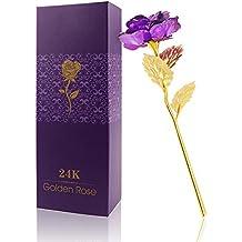 rosa k chapado en oro rosa flor con caja de regalo mejor regalo para el