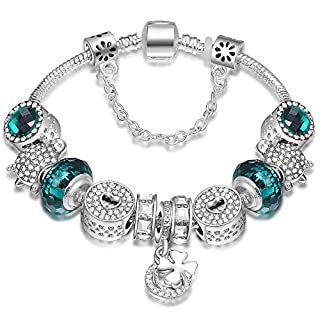 ATE Women Charm Bracelet Crystal Beads with Safety Chain (Green)