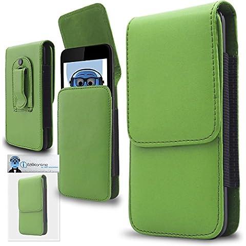 iTALKonline Samsung T509 PU Pelle VERDE Verticale esecutivo laterale del raccoglitore della copertura della cassa del sacchetto con attacco cintura